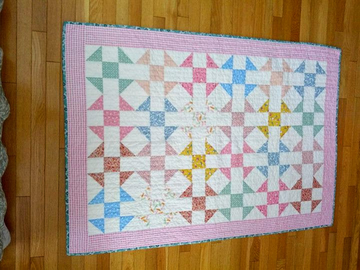 1930's Reproduction Quilt. I made the quilt top several years ago but finally finished hand quilting it in March, 2014.