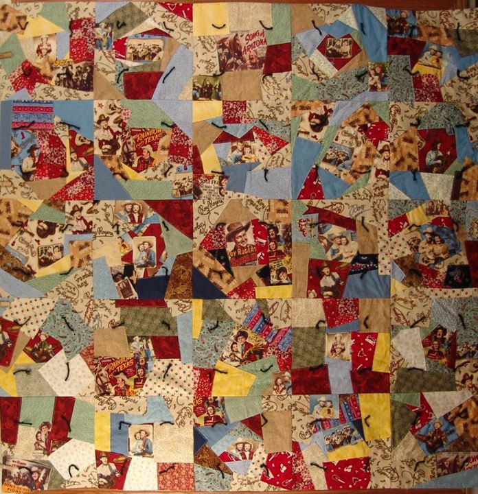 My second quilt - A Crazy quilt made primarily from Roy Rogers fabrics. Did this one for hire in 2008.