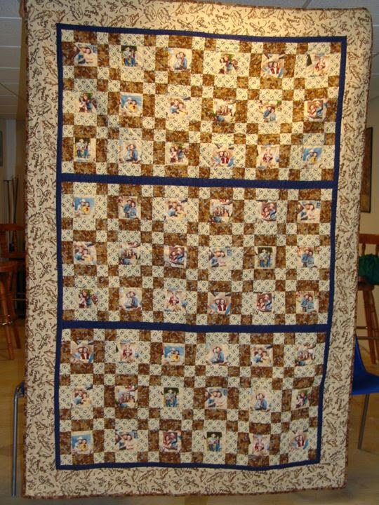 The Quilt top was made by my Grandma Lou at my request. I hand quilted the entire quilt top. Was the first hand quilted top that I finished on my own. Made in 2007 or 2008.