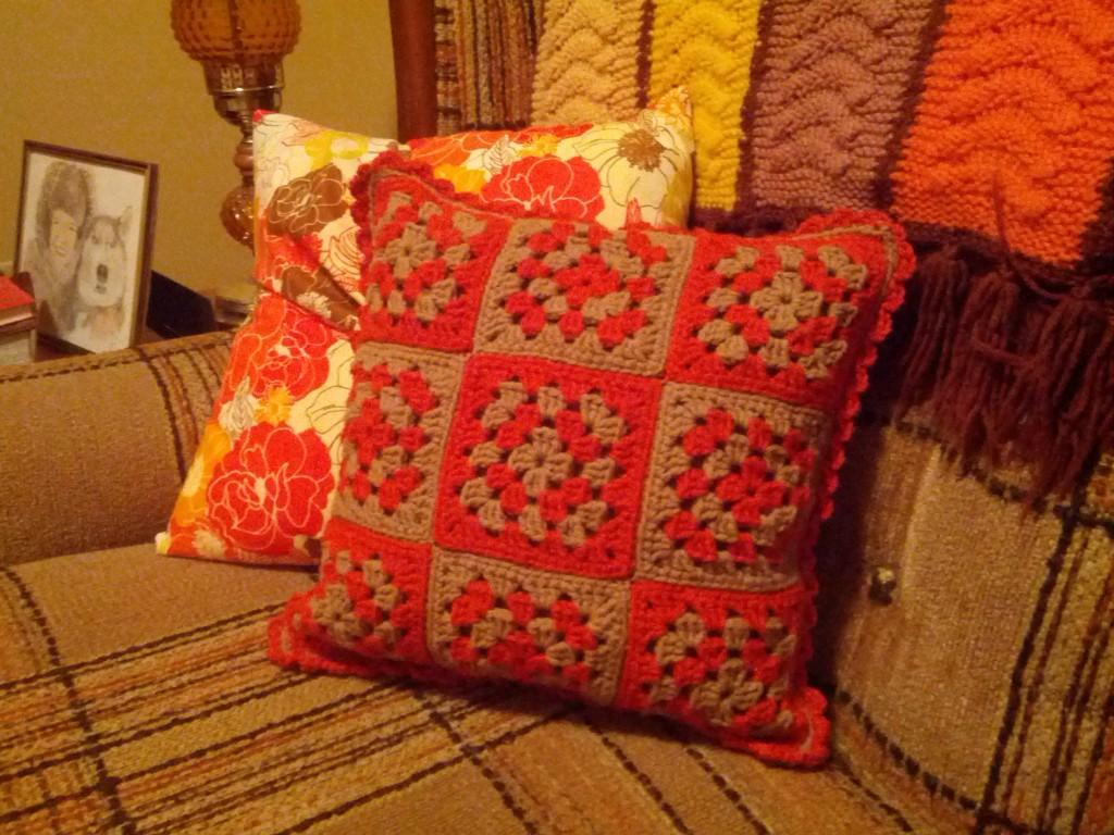 Second Pillow I made for my love seat. Nine-Patch Granny Square Pillow. Personal Design. I made both pillows to look like something grandma might have made.