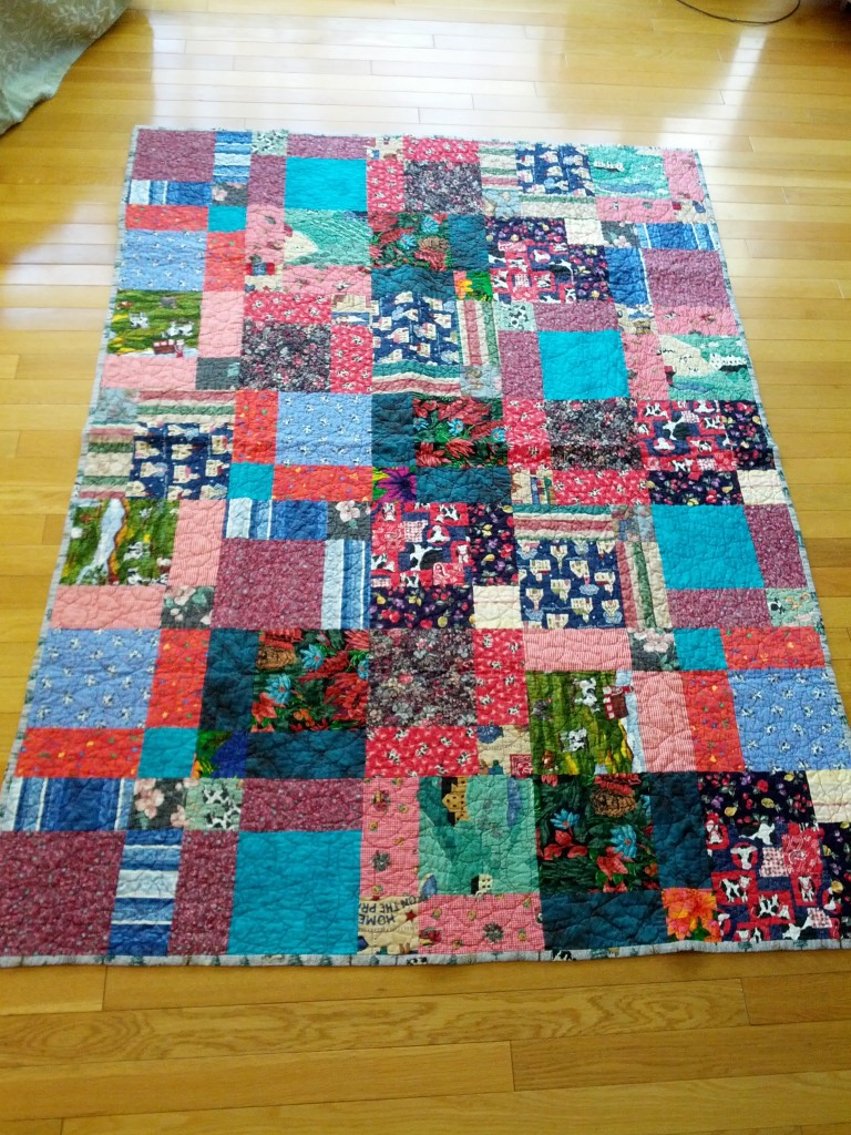 Made from scraps from my Grandma Lou - mostly from clothes she made me. Used them to make a disappearing nine-patch quilt. First quilt that I quilted on a Long-arm.